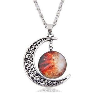 Orange Crescent Moon Cabochon Necklace